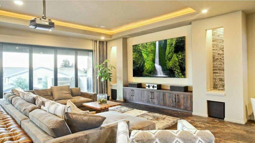 Modern media room in private home