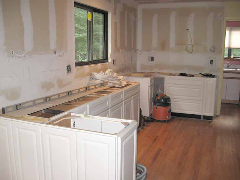 Kitchen renovation work during